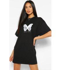 butterfly print t-shirt dress, black