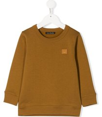 acne studios mini fairview face-motif sweatshirt - brown