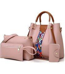borsa a tracolla da donna in ecopelle a quattro pezzi borsa pochette borsa