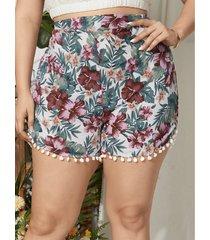 plus pantalones cortos con detalles de borlas y estampado floral al azar de tamaño