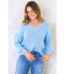 gebreide trui met v-hals pastel blauw