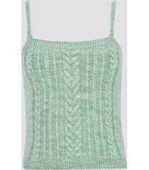 kabelstickad linne - ljusgrön