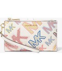 mk portafoglio per smartphone adele in pelle con logo in rilievo - lt crm multi - michael kors