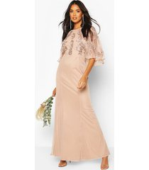 bridesmaid hand embellished cape maxi dress, blush