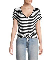 bailey 44 women's ocelot tie-front striped tee - white black - size xs