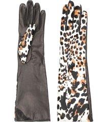 manokhi leopard print gloves - black