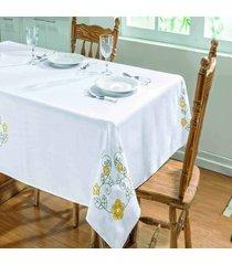 toalha de mesa dourados enxovais dalia 1,40x1,40 branco/amarelo