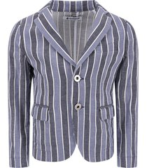 dondup blue, light blue and white striped boy jacket with iconic d
