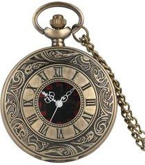 reloj bolsillo cuarzo numeros romanos cadena 1210 bronze