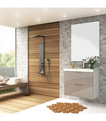 conjunto banheiro 80cm mdf branco brilho gianduia lilies