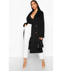 brushed double breasted wool look coat, black