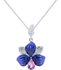 pink topaz (1 ct.t.w) and enamel flower pendant necklace in sterling silver