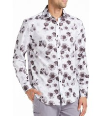 tallia men's slim fit daisy print shirt and a free face mask