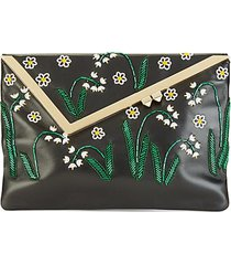 embellished leather clutch