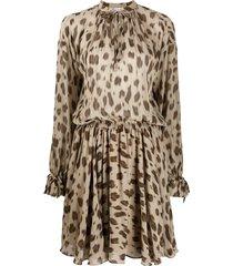 anine bing keyhole neck leopard printed silk day dress - neutrals