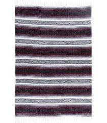 native yoga economy flaza mexican blanket burgundy cotton