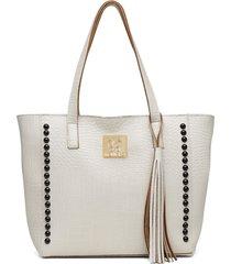 bolsa alice monteiro sacola croco com metais grande off white - off-white - feminino - dafiti
