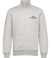 m original zip jacket med grey mel sweat-shirt tröja grå peak performance
