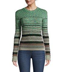 m missoni women's striped crochet long-sleeve sweater - fair green - size 42 (6)