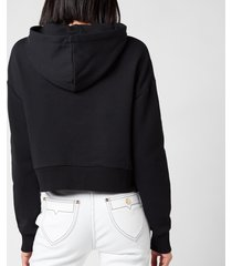 balmain women's cropped flocked logo detail hoodie - noir/blanc - l