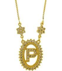 colar horus import letra p zircônia banhado ouro 18k feminino