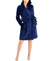 charter club short floral cozy plush robe, created for macy's