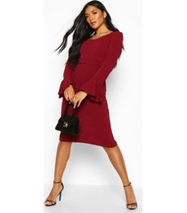 flute sleeve midi dress, wine