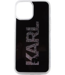 karl lagerfeld paris karl liquid glitter iphone 12 pro max case - black
