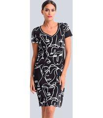 jersey jurk alba moda zwart::wit
