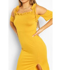 cold shoulder maxi dress, mustard