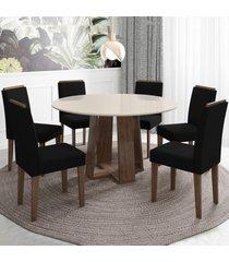 mesa de jantar 6 lugares isabela amanda 100% mdf castanho/off white - new ceval