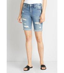 silver jeans co.® womens suki medium destructed bermuda shorts blue denim - maurices