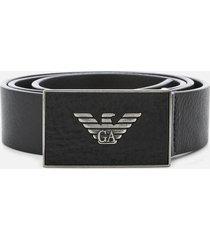emporio armani men's plate belt - black - eu 95/w38 - black