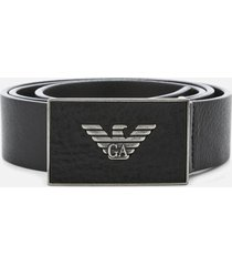 emporio armani men's plate belt - black - eu 90/w36 - black