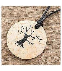 coconut shell and lava stone pendant necklace, 'bare tree' (guatemala)