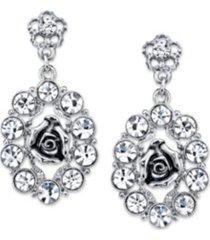 2028 silver-tone crystal oval flower drop earrings