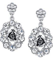 2028 silver-tone crystal oval flower drop earrings