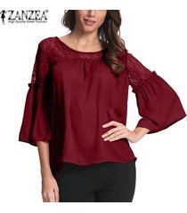 zanzea mujer lace up crochet evening party ladies tops blusa suelta camisa tallas grandes -rojo