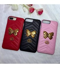fashion style 2017 leather butterfly gu case for apple iphone6/7/8 plus iphonex