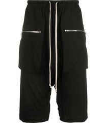 rick owens drkshdw drawstring drop-crotch shorts - black