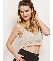 top blanco nuevas historias tejido crochet lp4-11