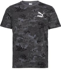 classics graphics aop logo tee t-shirts short-sleeved grå puma