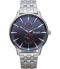 orologio multifunzione con cinturino e cassa in acciaio silver, quadrante blu per uomo