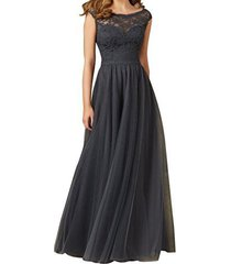 fanmu cap sleeve lace bodice tulle bridesmaid prom dress evening gowns grey us 2
