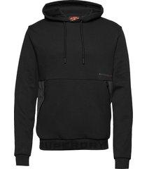 urban tech overhead hood hoodie trui zwart superdry