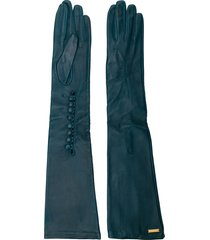 dsquared2 goat skin long gloves - blue