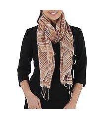 silk scarf, 'brown iridescence' (thailand)