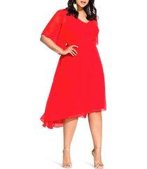 plus size women's city chic adore high/low dress, size large - orange