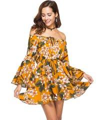boho mini vestito floreale con spalle scoperte a maniche lunghe