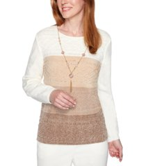 alfred dunner first frost colorblocked removable-necklace sweater